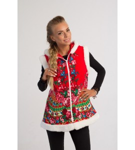 CHRISTMAS VEST RED LONG